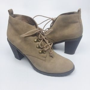 Restricted Tan Lace Up Ankle Booties